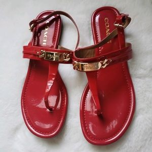 Coach Caterine Red Patent Leather Sandals Sz 9.5